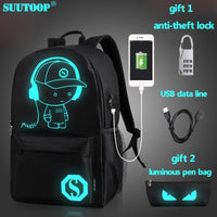 School Backpack Anime Luminous with USB Charger