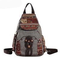 Vintage Travel Style Native Indie Indian Girl Elephants Canvas Boho Bag Backpacks Cute School
