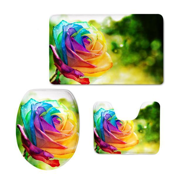 3D Floral Bathroom Set Toilet Cover & Mat (3 pcs)