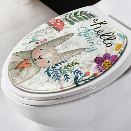 Easter Bunny Bathroom Set Toilet Cover