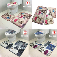 Cover Seat Mat Modern Paris Eiffel Tower Toilet Rug Bathroom Rose