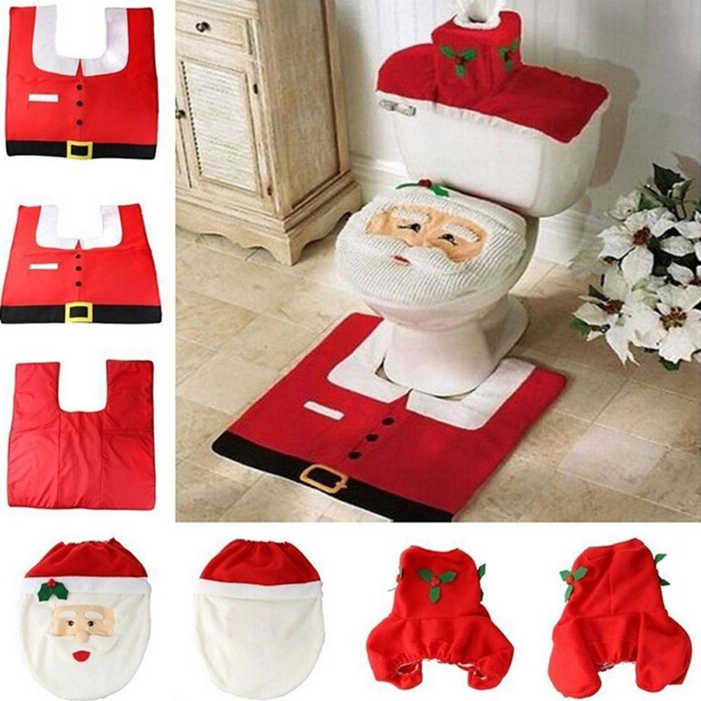 Decoration Cute Santa Holiday Christmas Cover Seat Bathroom Toilet Rug