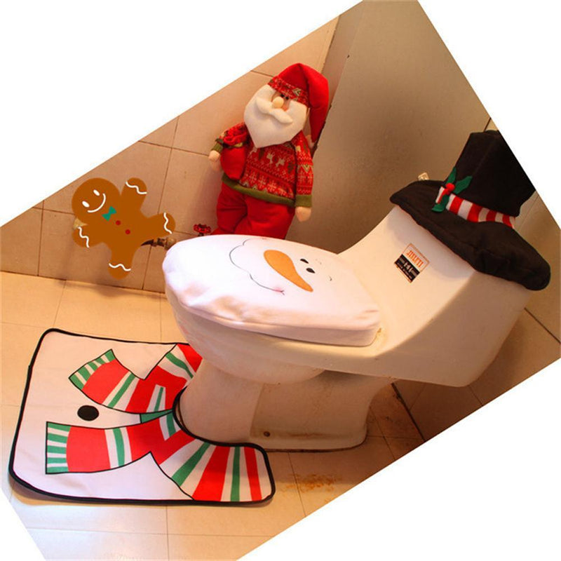 Winter Snowman Snow Decoration Cute Santa Holiday Christmas Cover Seat Bathroom