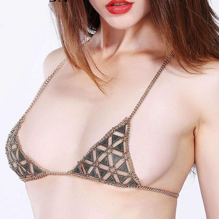 Top Silver Sexy Jewelry Gold Chain Bra Bikini Beach