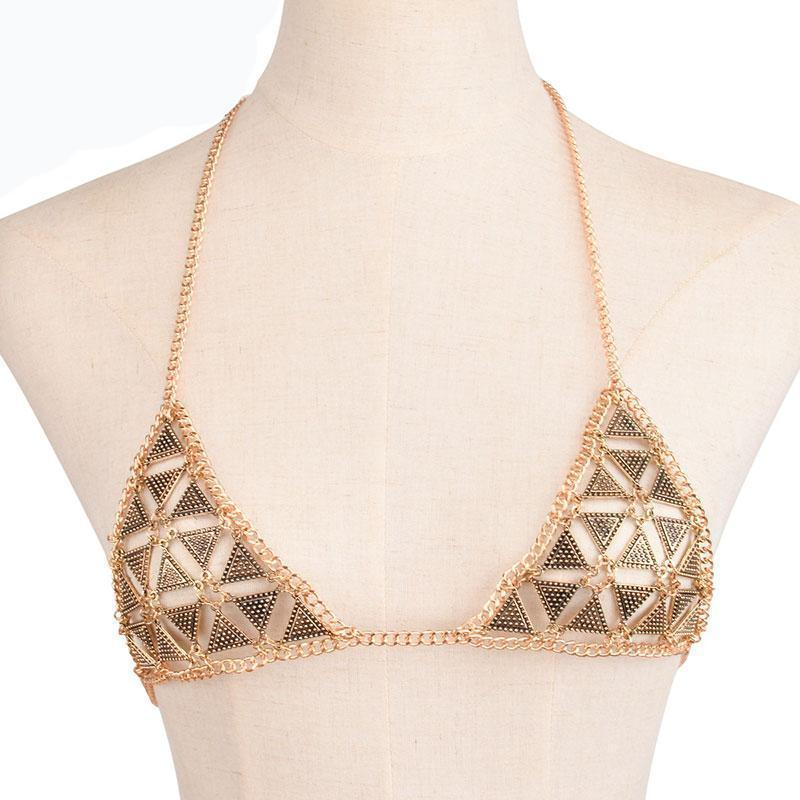 Sexy Beach Party Jewelry Chain Halter Bra