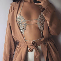 Statement Sexy Rhinestone Necklace Jewelry Fun Fashion Chain Bra