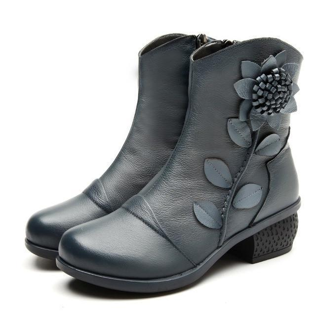 Casual Leather Winter Ankle Boots