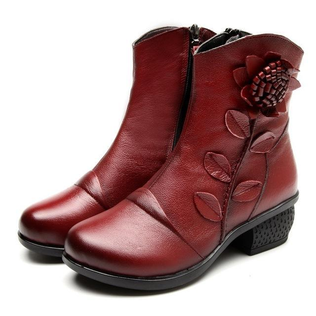 Women Winter Warm Shoes Boots Ankle Booties Leather High Quality Gender_Women Cute