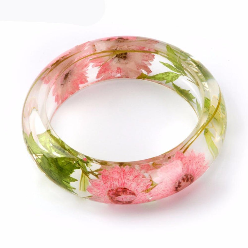 Rose Gift Flower Floral Cute Clear Bracelet Boho Bangle