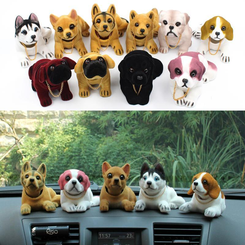Shaking Head Ornaments Nodding Lucky gift Dogs Decoration Car