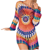 Rainbow Mesh Knitted Boho Cover Up Dress