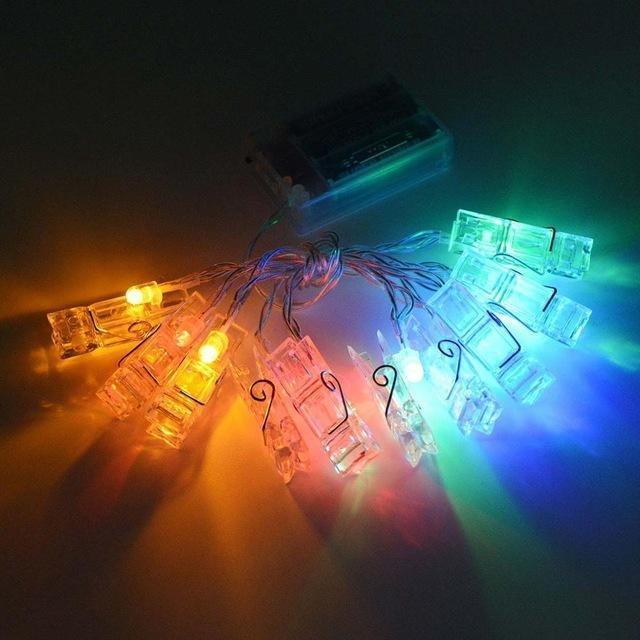 Boho Photo Clips Holder LED Light String