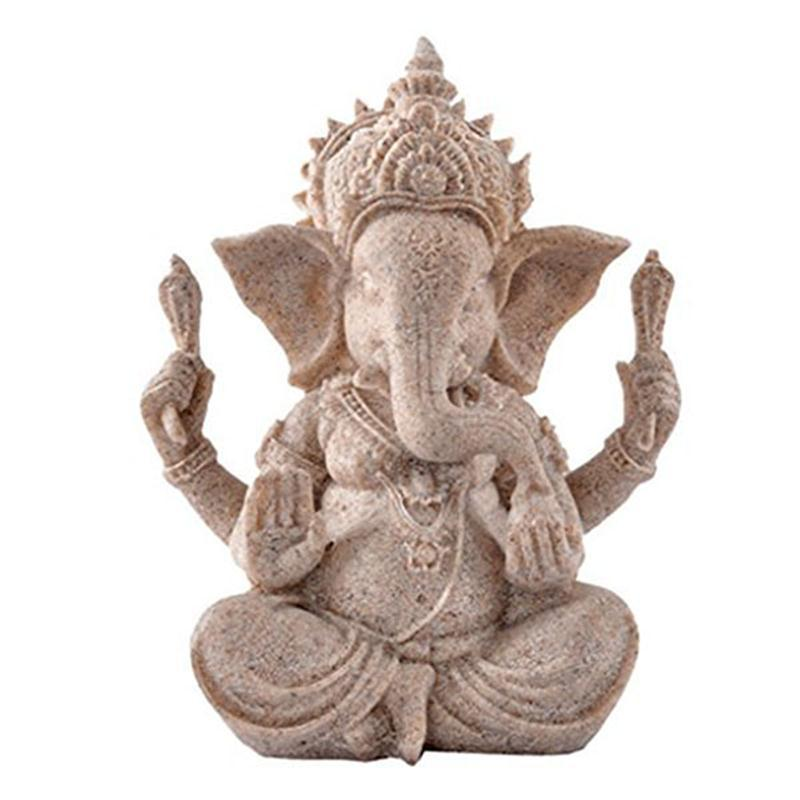 Elephant Hindu Indian Good Fortune Figurine Sandstone Ganesha Statues Sculpture Buddha