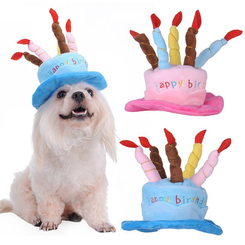 Puppy Pets Party Hat Happy Birthday Dog Cute Costume Candles Birthday Accessories
