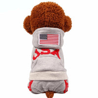 Coat Jacket Cute Puppy Pet Dog Football Sport Flag Winter Warm Cotton
