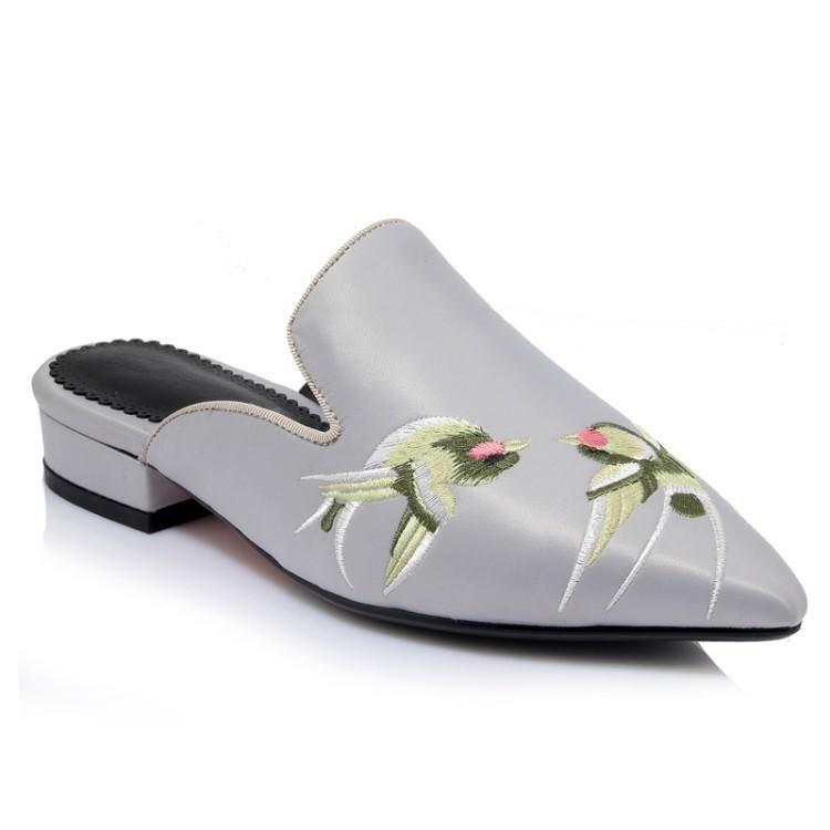Embroidery Bird Silk Pointed Toe Flat Shoes
