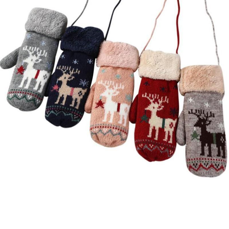 wool Snow Deer Animal Christmas Gift Holiday Winter Warm Soft Mitten Gloves Cute