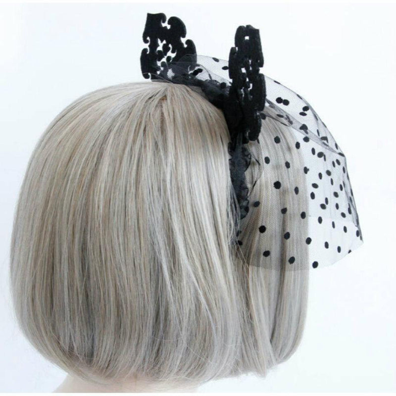 Lady In Black Lace Halloween Fancy Face mask Costume Black