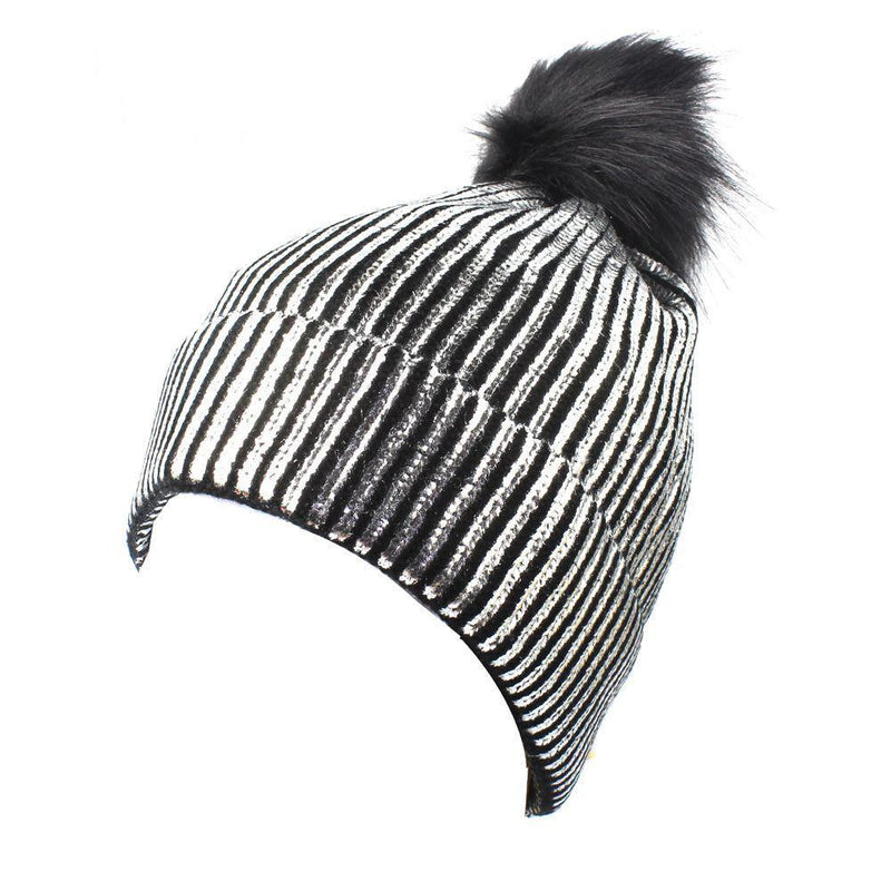 Snow Winter Cold Warn Silver Gold Shiny Shine Pom Hat Blink
