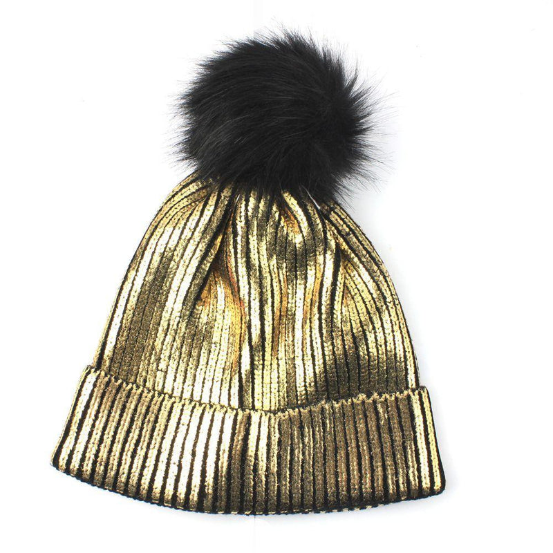 Fancy Snow Winter Cold Warn Silver Gold Shiny Shine Pom Hat Blink Cute Style