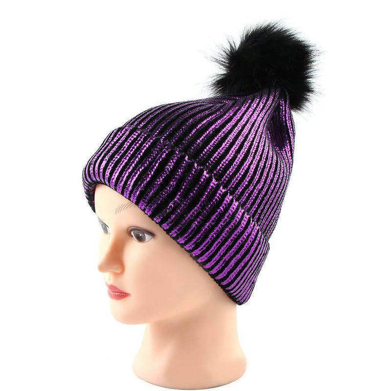Snow Winter Cold Warn Silver Gold Shiny Shine Pom Hat Blink Cute