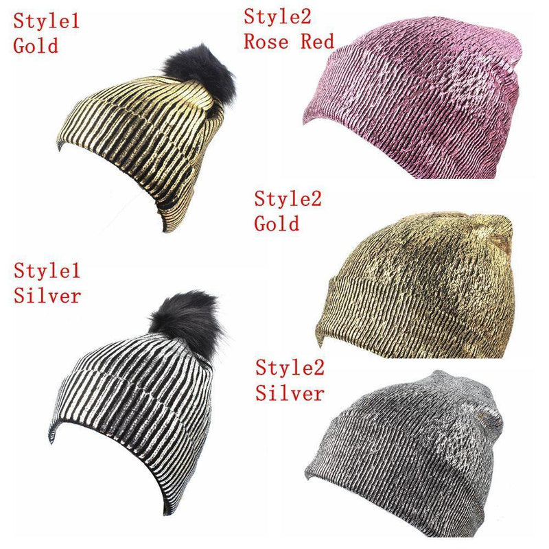 Shine On Knitted Pom Gold Silver Hat