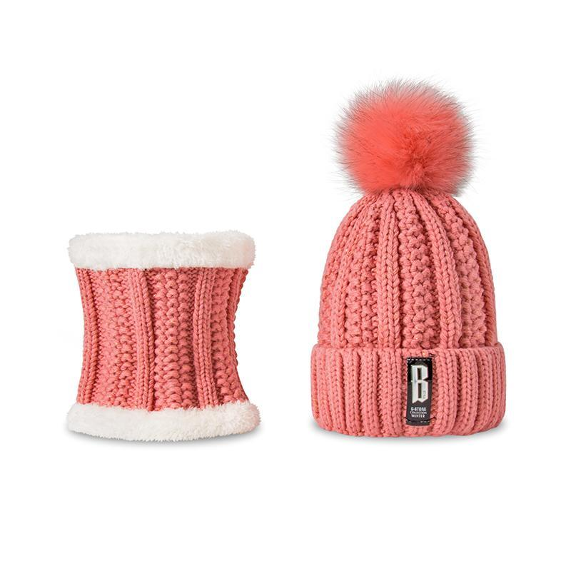 Men Set Winter Warm Snow Scarf Pom Pom Knitted Hat Fur Cute Cold