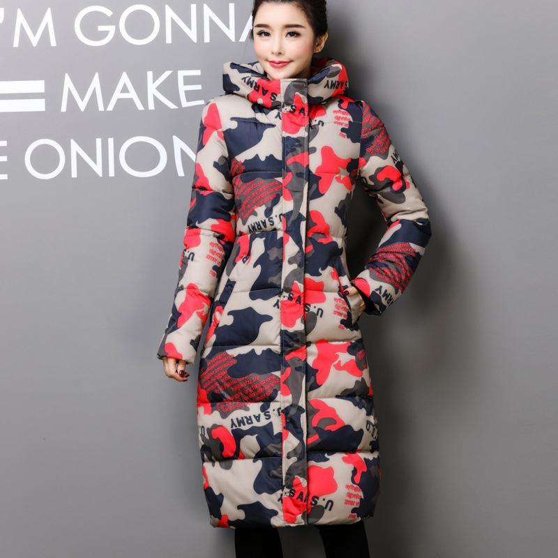 Skinny Long Warm Snow Winter Raincoat Jackets Jacket Cute Coat Camouflage Cameo Bomber