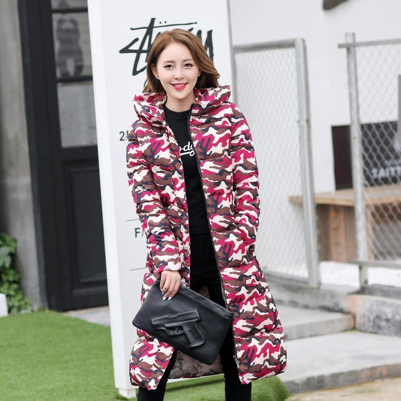 Skinny Long Warm Snow Winter Raincoat Jacket Coat Camouflage Cameo Bomber
