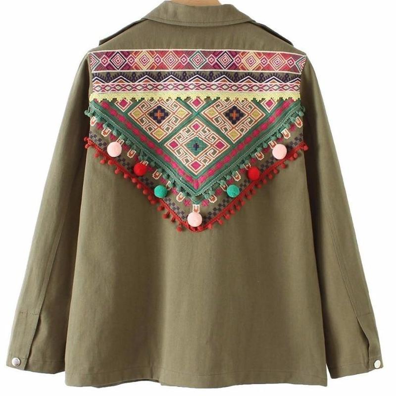 Winter Vintage Summer Jacket Indie Gypsy Flower Floral Embroidered Cute Khaki Boho Army