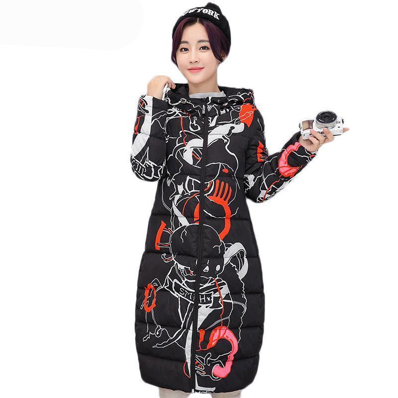 Warm Snow Material_Polyester Material_Cotton Long Korean Japanese Hooded Harajaku Cartoon Blossom
