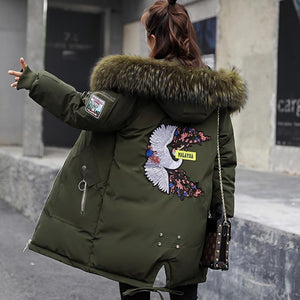 Farm Style Cool Embroidery School Holiday Warm Cold Fur Jacket Long Snow Bird