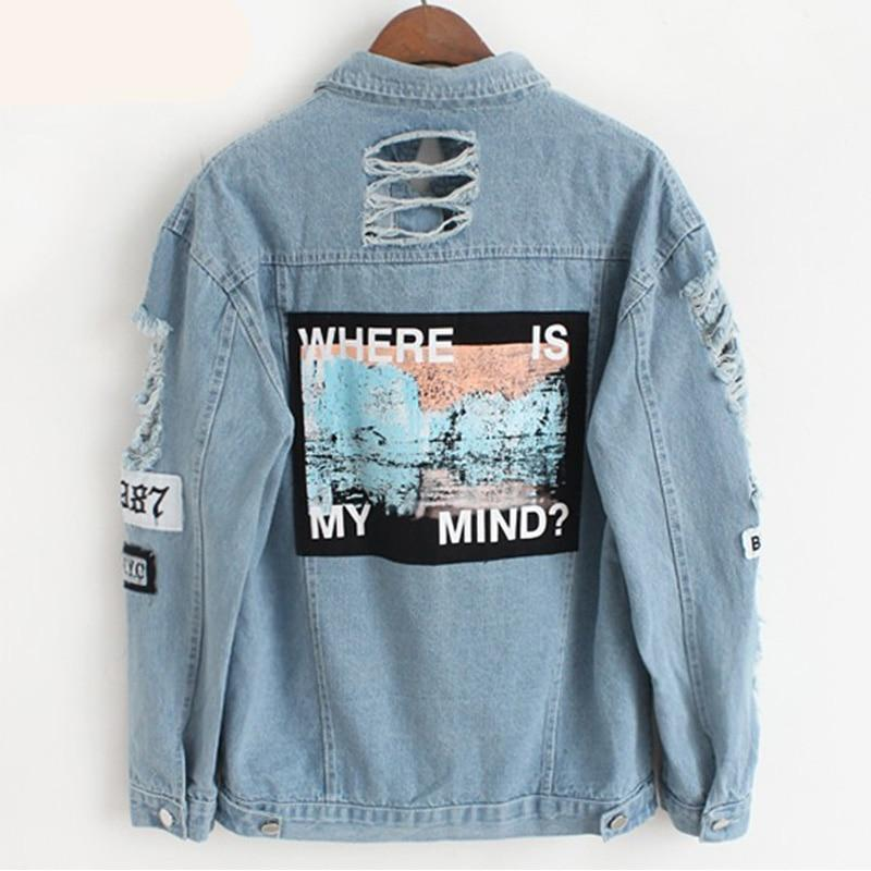 School Cool Mind Where Loose Style Street Korean Japanese Jacket Denim Cute Casual Blue