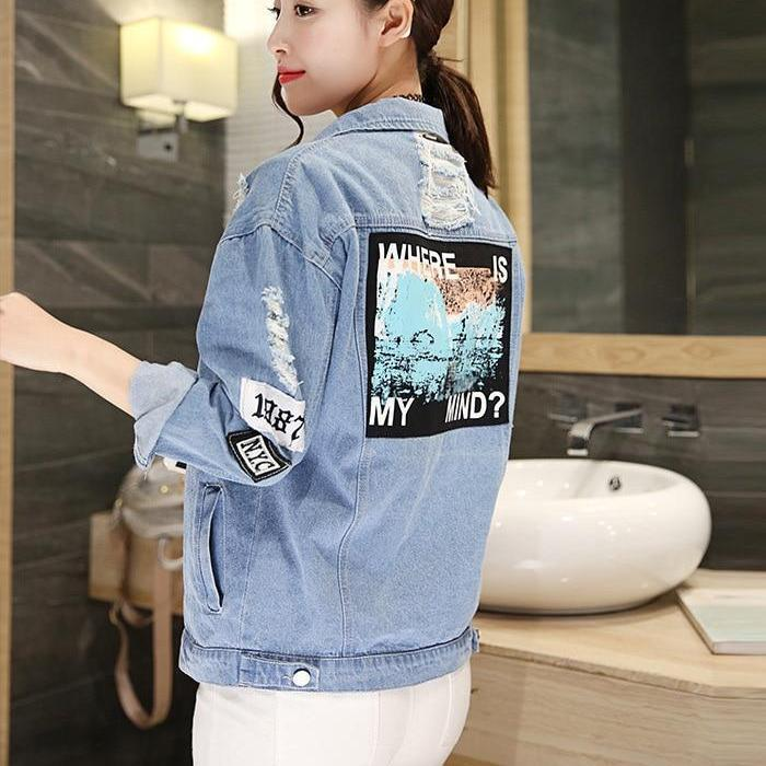 """Where is My mind"" Basic Casual Bomber Denim Jacket"