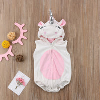 Newborn Baby Party Fun Halloween Unicorn Rompers Jumpsuits Hooded Cute Costume Pink
