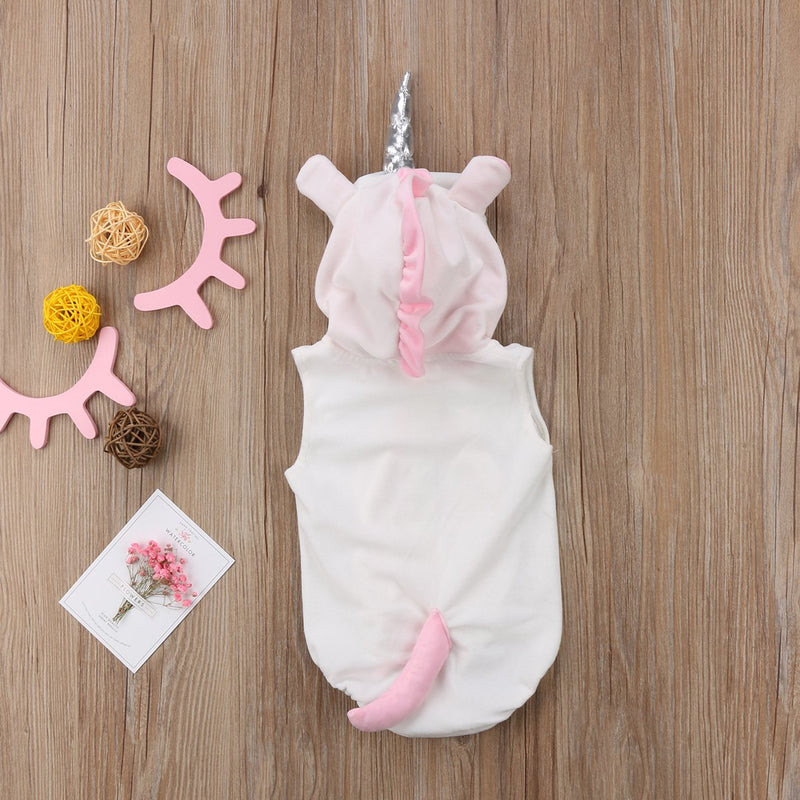 Newborn Baby Party Fun Halloween Unicorn Rompers Jumpsuits Hooded Cute Costume