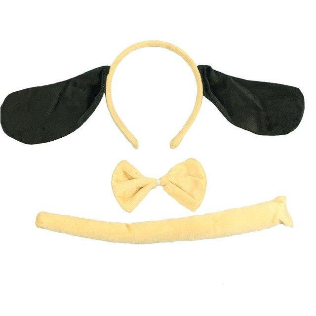 Kids Animal Ears Headband Bow Tie Tail Set Cosplay Costume