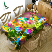 Kitchen Feather Roses Tablecloth Table Spring Flower Floral Eggs Easter Cover Color Abstract 3D