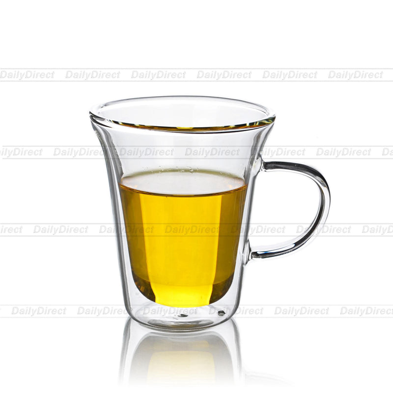 Love Heart Clear Double Wall Tea Coffee Glass Cups