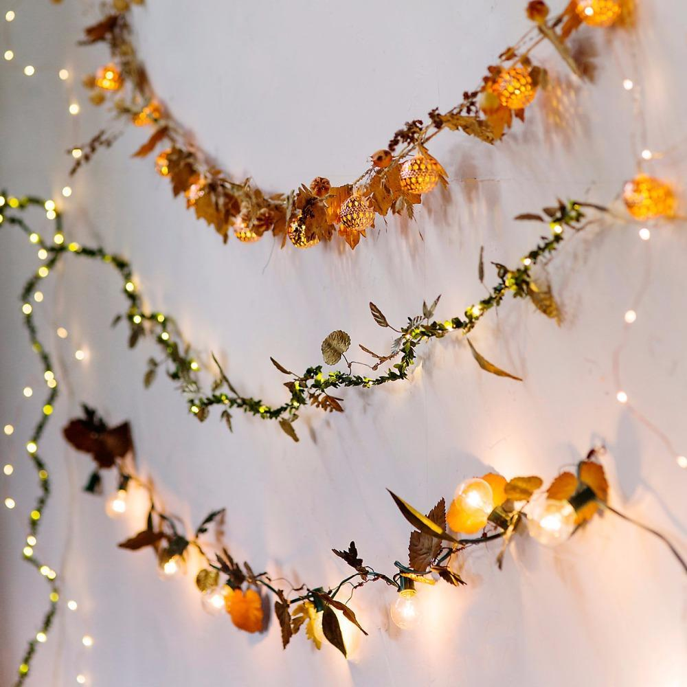 Waterproof String Party Led Light Leaf Home Holiday Decoration Copper Christmas