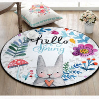 Hello Happy Bathroom Floral Decoration Spring Rabbit Bunny Easter Home Door Mat