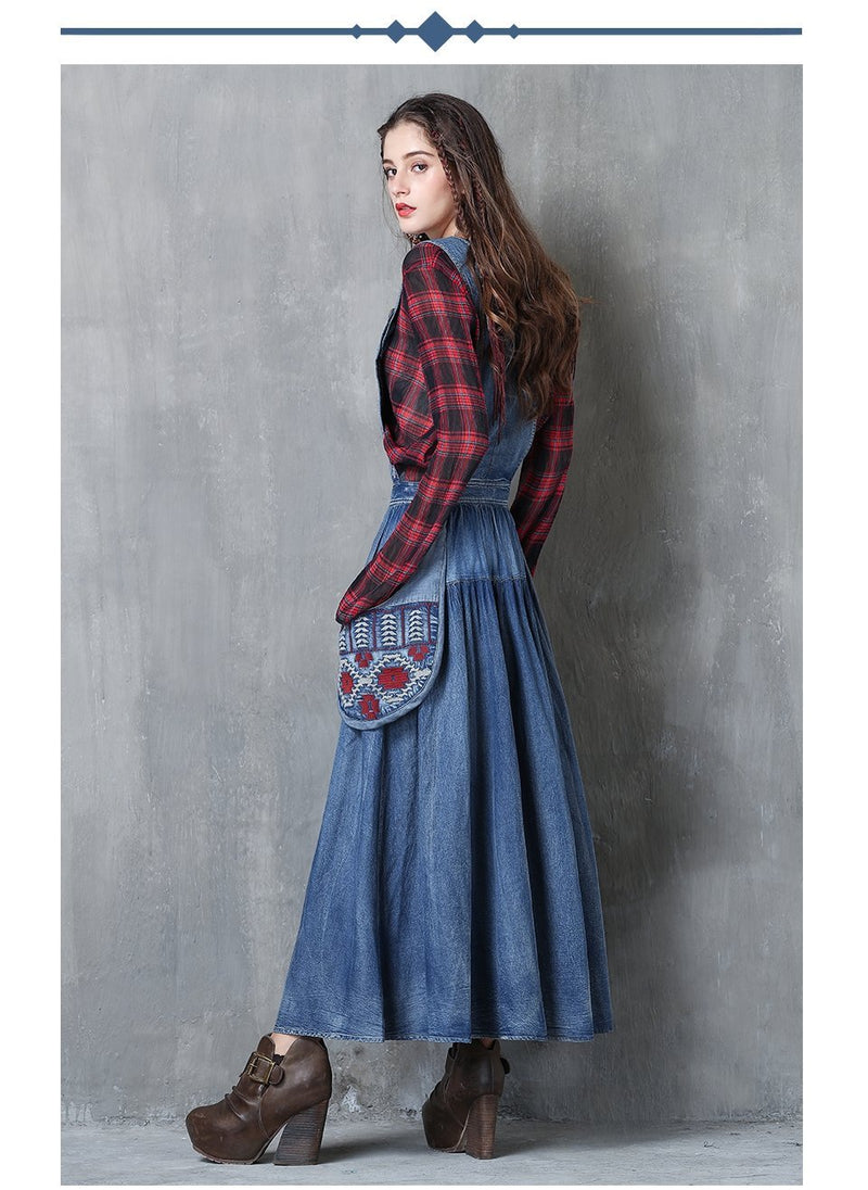 Amish Denim Flower Embroidery Maxi Dresses