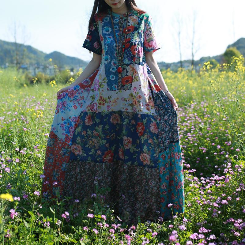Spring Summer Travel Flowers Plus Oversize Loose Log Floral Maxi Patched Boho