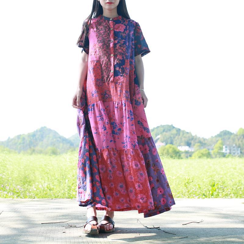 Travel Summer Spring Plus Patched Oversize Maxi Loose Log Flowers Floral Boho