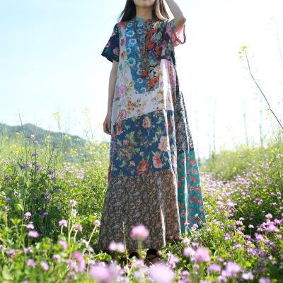 Spring Summer Travel Flowers Plus Oversize Loose Log Color Vibe Maxi Patched Boho