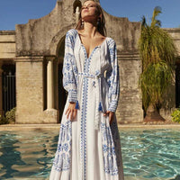 BOHO Woman Moroccan Embroidery Maxi Dress