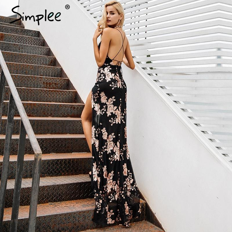 Sequin Lace Party Maxi Dress