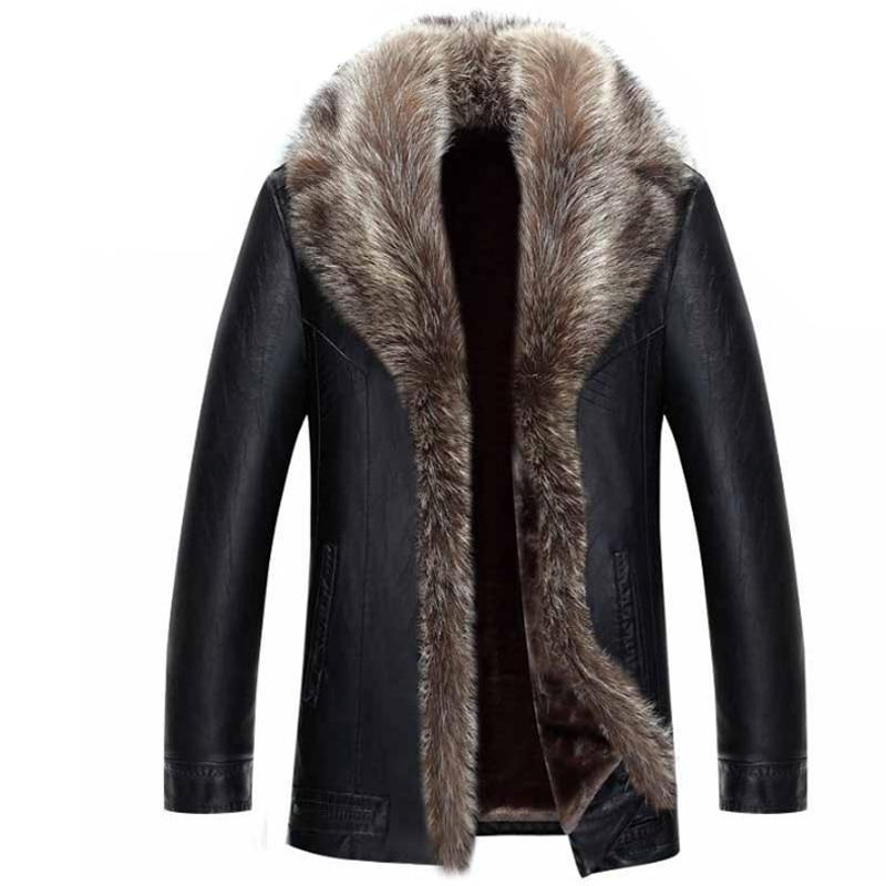 Coat Raccoon Handsome Brand Designer High Quality Winter Leather Faux Fur