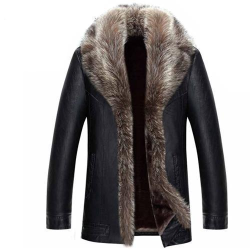 American Forest Raccoon Fur Leather Jacket Coat for Men