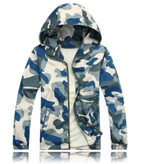 Military Army Cameo Men Style Spring Classy Cool Rain Light Jacket Hooded Coat Camouflage